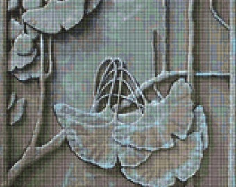 Art Nouveau Ginko Tile Cross Stitch pattern PDF- EASY chart with one color per sheet And traditional chart! Two charts in one!