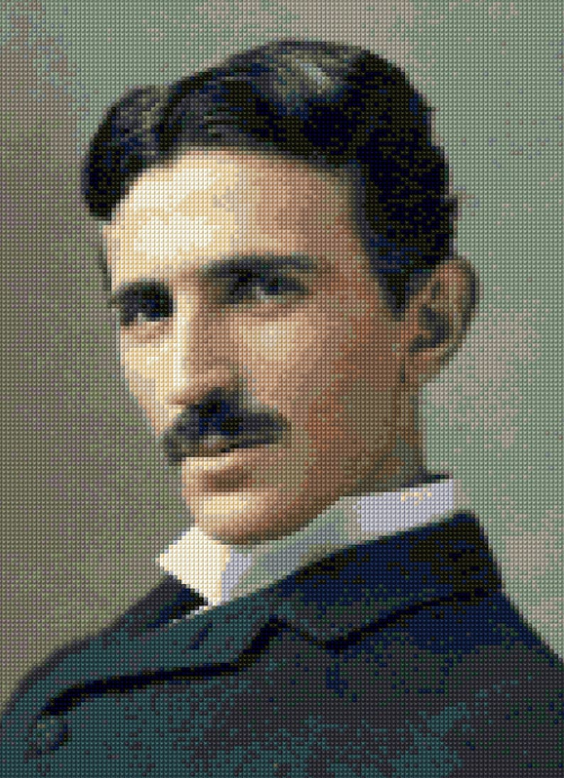 Nikola Tesla portrait Cross Stitch pattern PDF - EASY chart with one color  per sheet And traditional chart! Two charts in one!
