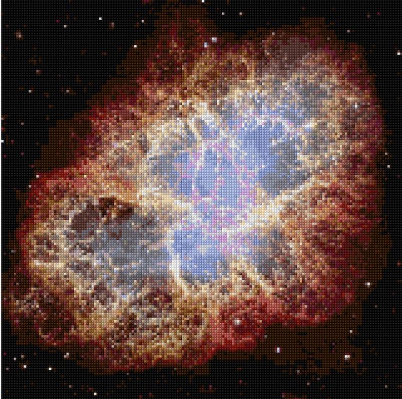 Crab Nebula  Hubble Telescope Cross Stitch Pattern PDF EASY image 0