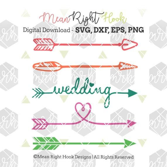 Wedding Svg Arrow Svg Heart Svg Design Instant Download Etsy