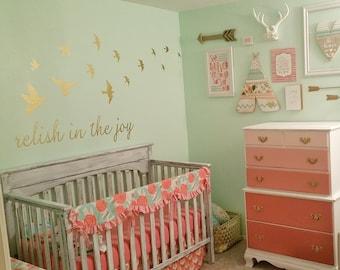 Relish in the Joy vinyl wall decal sticker,  shabby chic baby room nursery bed crib wall vinyl decal, Choose joy, Joy in the journey decal