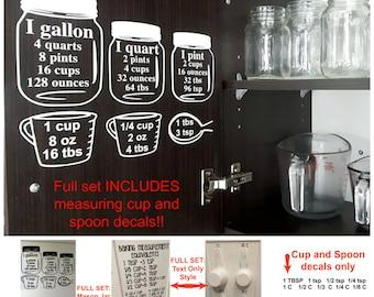 SALE Baking Measurement equivalents Vinyl Wall Decal Sticker, Baking measuring cups & spoons decal,  Kitchen cabinet measurement conversion