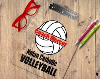 Volleyball Coach gift personalized volleyball Clipboard with Name, Volleyball player team gift idea, custom clear or storage clipboard case