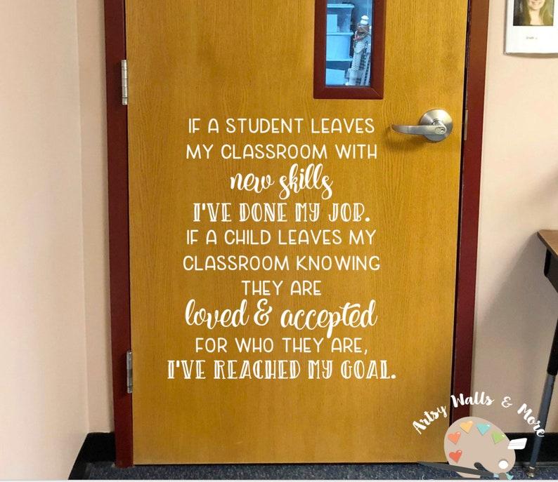 Teacher Goals quote Classroom door Vinyl Wall Decal School Classroom  Library Decal office hallway Decor decal, Classroom quote wall decal