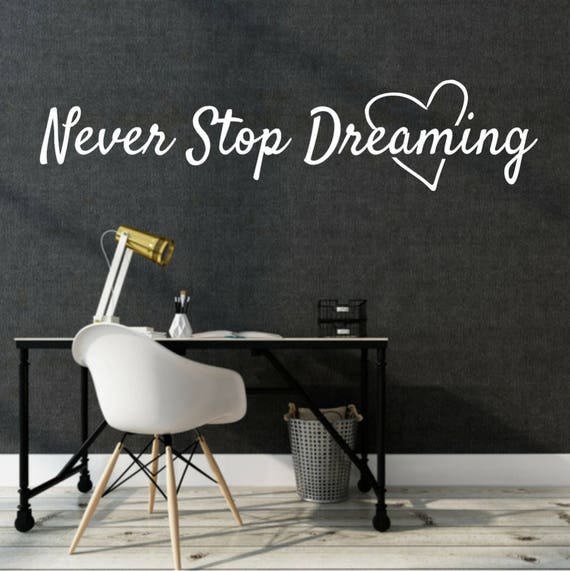 Vinyl Wall Decal Never Stop Dreaming Phrase Birds Stickers 22.5 in x 16 in gz200