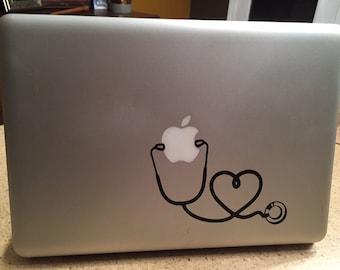 Nurse Heart Stethoscope decal for Mac laptop, Nursing Student laptop decal, Nursing graduation gift, new nurse gift, doctor gift