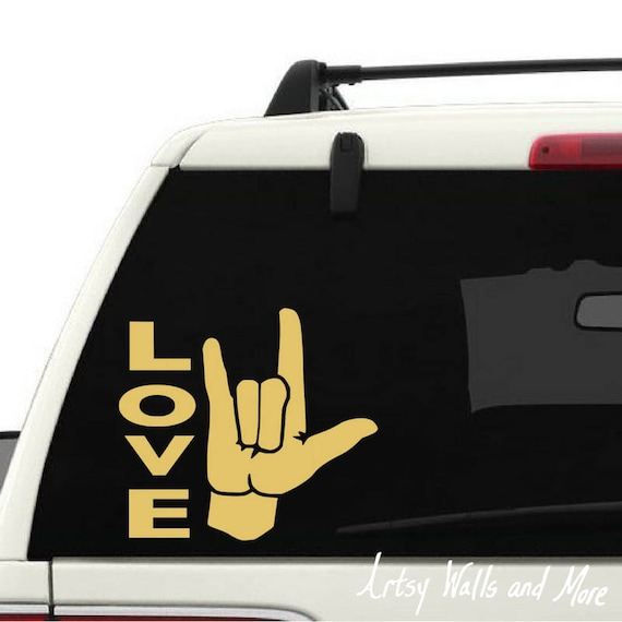 4in X 4 5in Black And White I Love You Hand Language Asl Ily Sticker Vinyl Window Decal Walmart Com Walmart Com