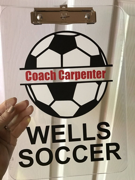 Soccer Coach Gift Personalized Soccer Clipboard With Name Soccer Player Team Gift Idea Clear Or Storage Clipboard Case Sports Clipboard