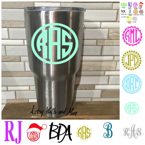Yeti Cup Monogram Vinyl Decal Laptop Mac Decal Yeti Decal Monogram Car Decal Monogram Sticker Yeti Cup Decal Water Bottle Decal