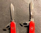 Vintage Mixed Lot (2) Swiss Made VICTORINOX Officier Suisse Pocket Knives
