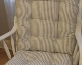 Rocking Chair or Glider Cushions Set in Grey Storm White Ticking Stripe, Baby Nursery, Dutailier Replacement