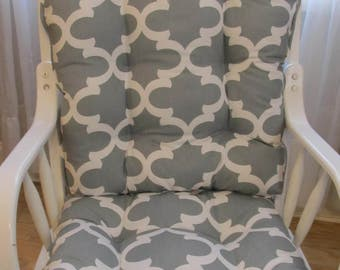 Glider Or Rocking Chair Cushions Set In Fynn Grey With White Geometric  Print, Chair Pads, Baby Nursery Rockers, Dutailier Replacement