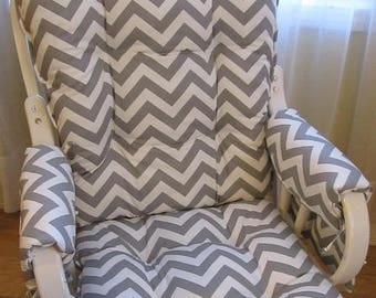 Glider Or Rocking Chair Cushions Set With Arm Rest Covers In Grey White  Chevron, Baby Nursery Rocker, Dutailier Replacement, Chair Pads,
