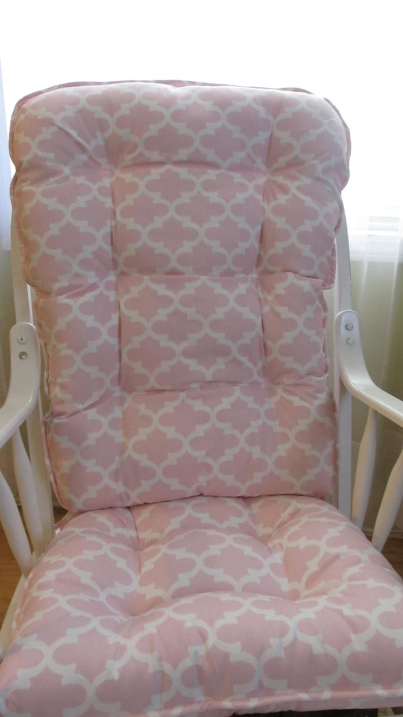 Glider Or Rocking Chair Cushions Set In Pale Pink Pastel And White Quatrefoil Baby Girl Nursery Rockers Dutailier