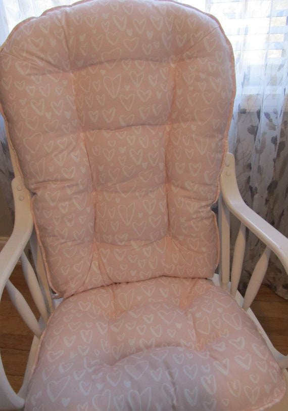 Fine Glider Or Rocking Chair Cushions Set In Pale Pink Pastel Blush With White Hearts Baby Girl Nursery Rockers Dutailier Ibusinesslaw Wood Chair Design Ideas Ibusinesslaworg