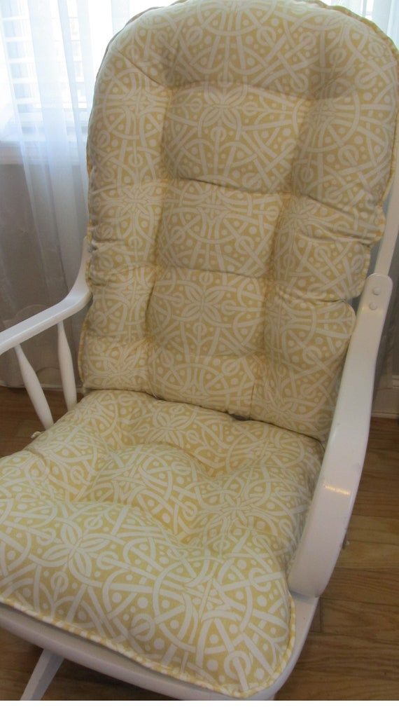 Fabulous Glider Or Rocking Chair Cushions Set In Soft Marigold Yellow And White Geometric Baby Nursery Rocker Dutailier Replacement Pads Inzonedesignstudio Interior Chair Design Inzonedesignstudiocom