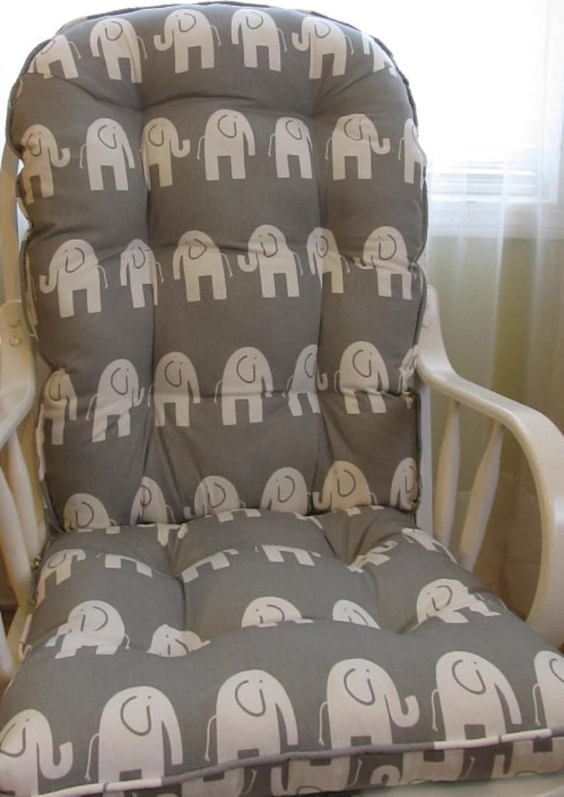 Glider Or Rocking Chair Cushions Set In Storm Grey With White Elephants Baby Nursery Rocker Dutailier Replacement Chair Pads