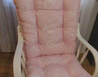 Glider Or Rocking Chair Cushions Set In Paris Pink And White French Twill,  Baby Girl