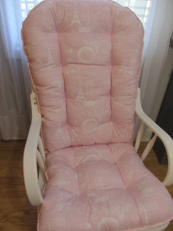 Remarkable Glider Or Rocking Chair Cushions Set In Paris Pink And White French Twill Baby Girl Nursery Rocker Dutailier Replacement Pads Ibusinesslaw Wood Chair Design Ideas Ibusinesslaworg