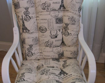 Good Glider Or Rocking Chair Cushions Set In Black On Natural Background French  Stamp Print, Grain