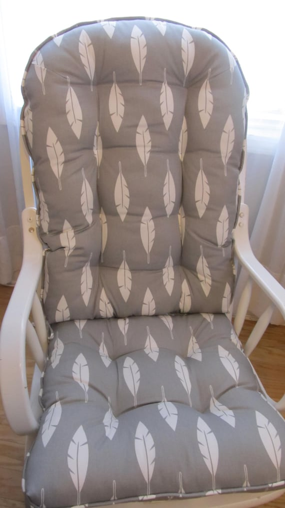 Prime Glider Or Rocking Chair Cushions Set In White Feathers On Grey Southwest Rustic Baby Nursery Rocker Dutailier Replacement Pad Dailytribune Chair Design For Home Dailytribuneorg