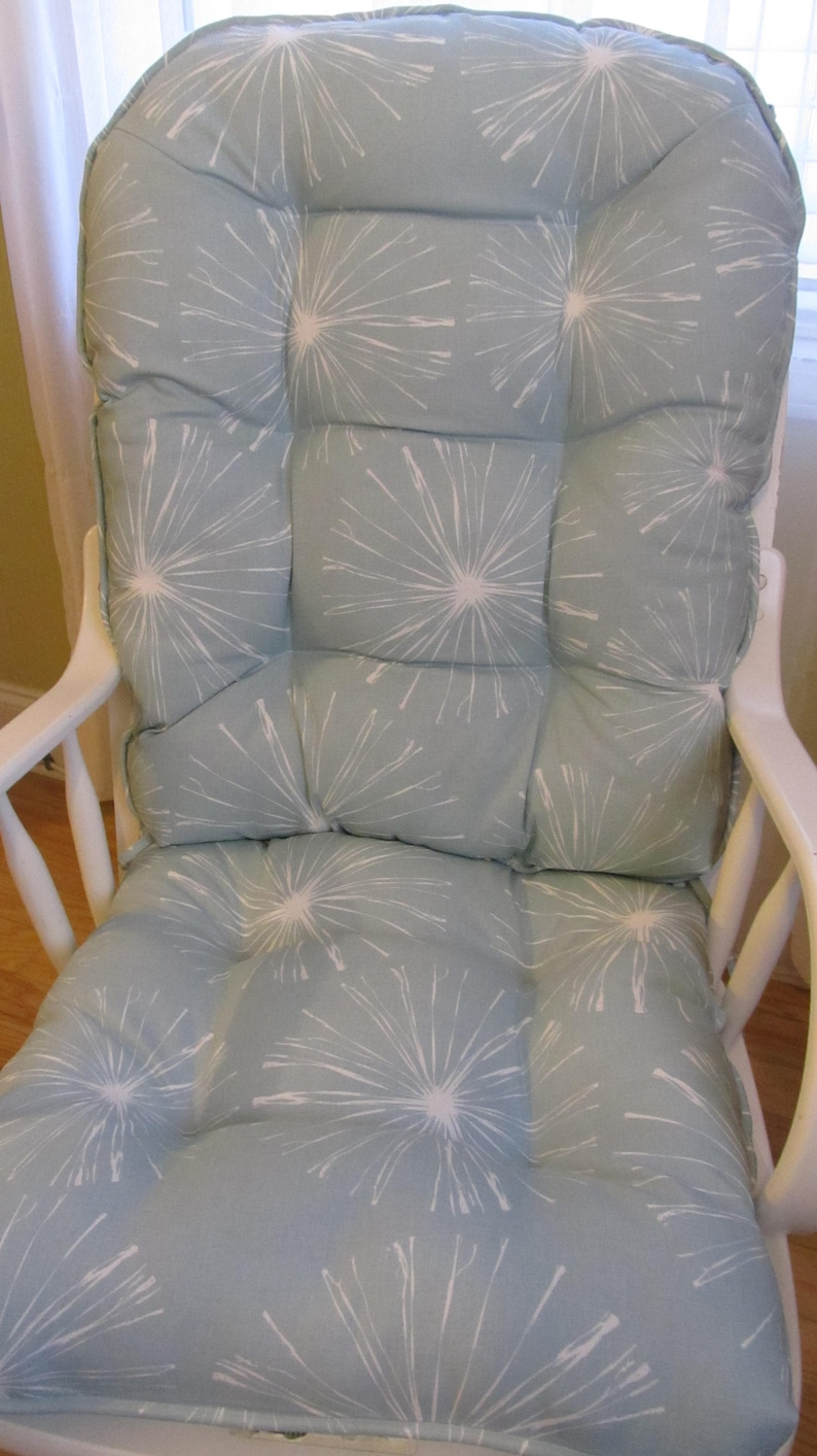 Fabulous Glider Or Rocking Chair Cushions Set In Sparks Spa Blue With White Starburst Baby Nursery Rocker Dutailier Replacement Uwap Interior Chair Design Uwaporg