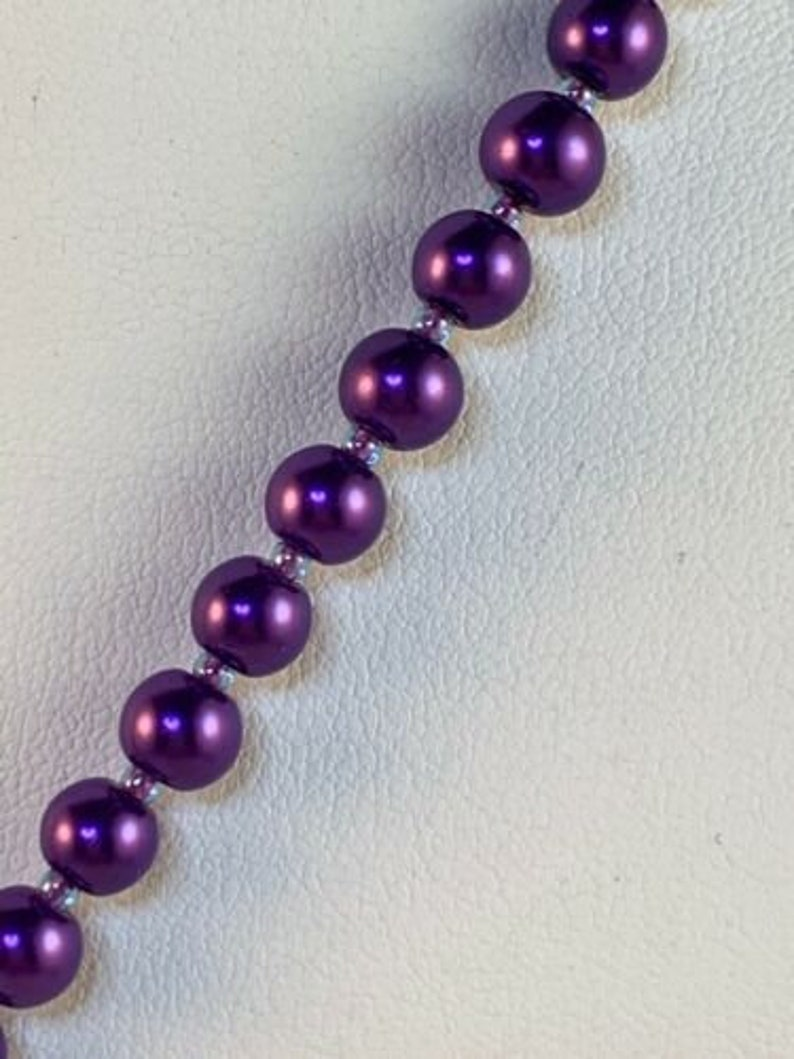New Purple Pearl Coated Glass Bead Necklace With Fluorite Crystals