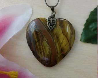 Tiger Eye Heart Pendant with Chain #1299E