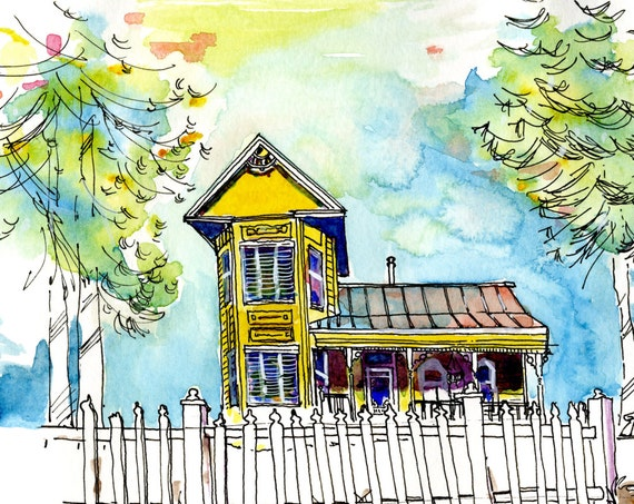 Custom Home Portrait Illustration - Original House Watercolor
