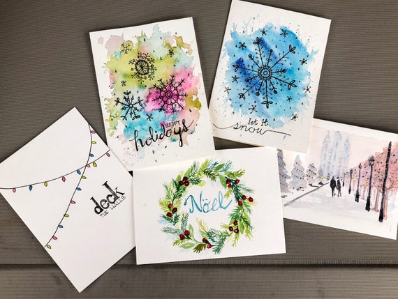 Set of 5 watercolor Christmas Cards