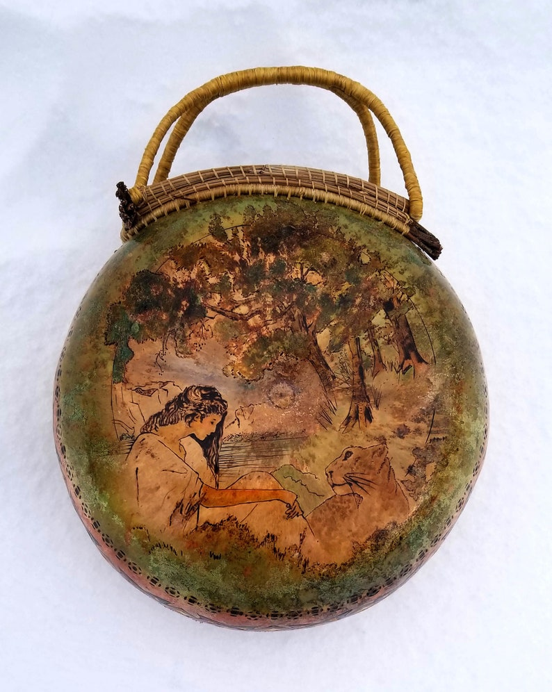Appointment with a Lionness  Hand Painted Gourd Art image 0