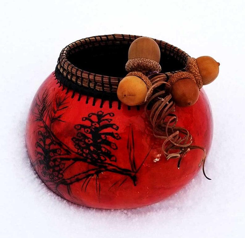 Oak & Pine  Hand Made Gourd Art image 0