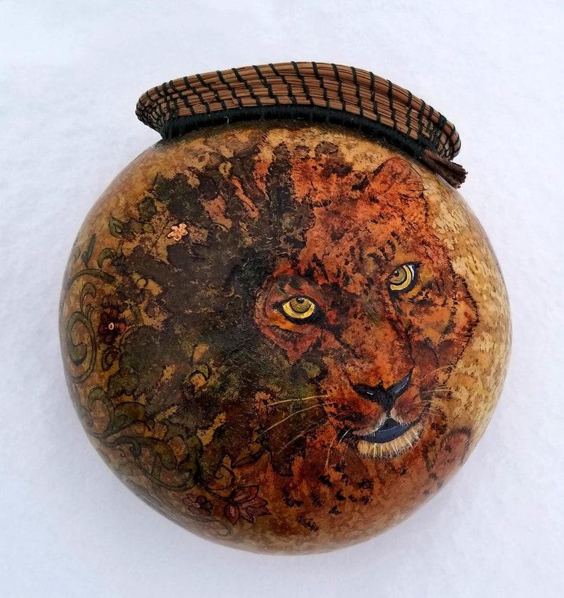Leopard in Hiding  Hand Made Gourt Art image 0