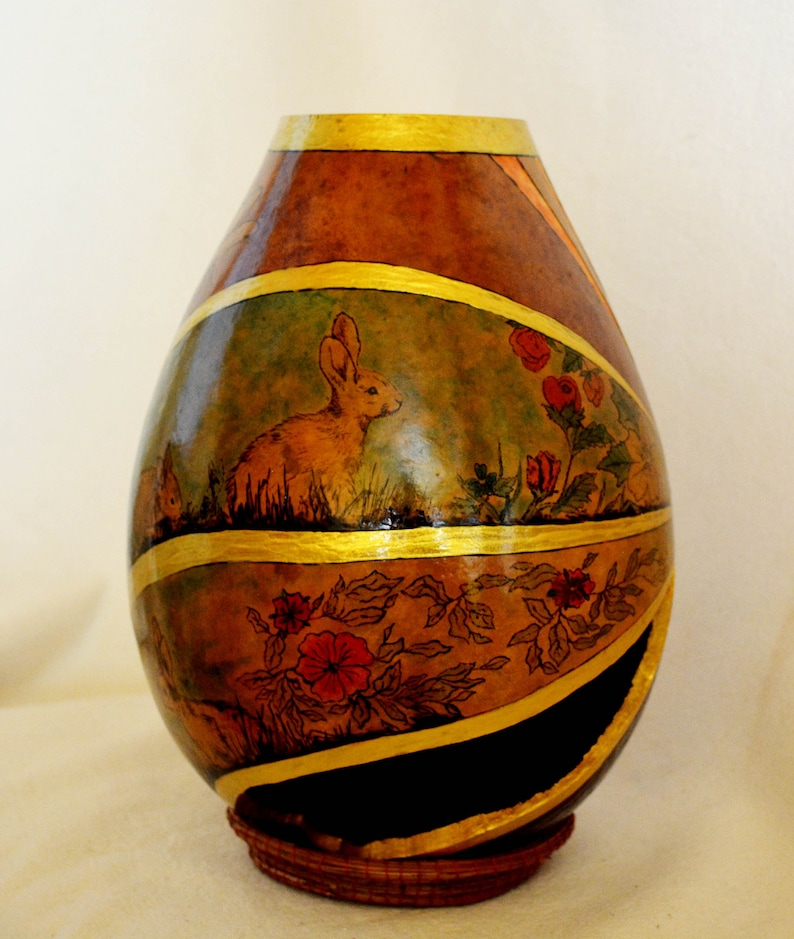 Rabbit Meadow Collectible Art Gourd image 0