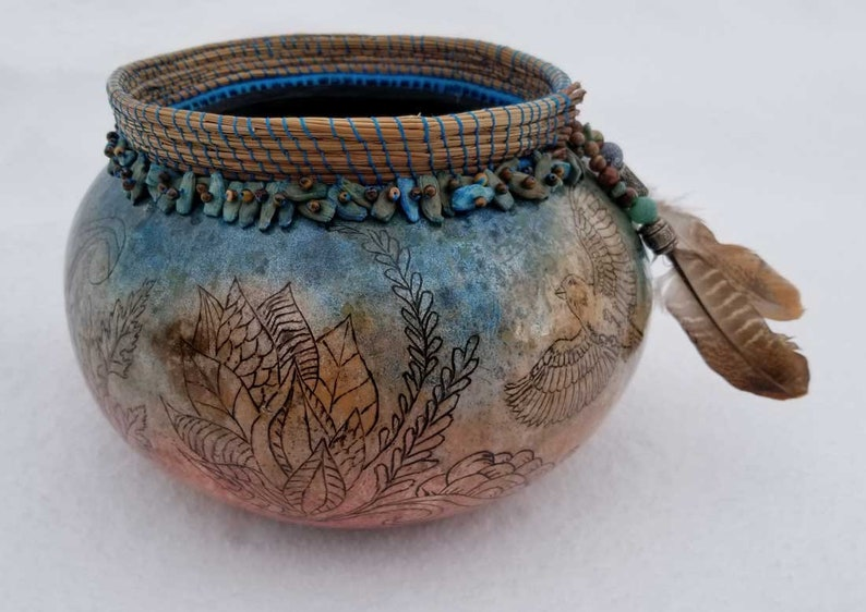 Feathers & Flowers   Hand Painted Bowl shaped Gourd Art image 0