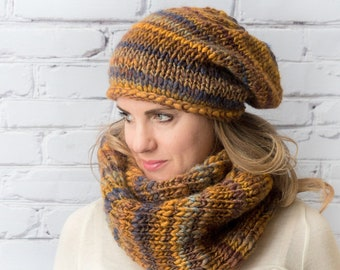 Hat scarf set for woman, Chunky winter womens knitted hat infinity scarf, Hand knit striped beanie scarf combo, Christmas gift for friend