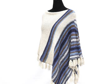 Poncho women | Knit poncho | Wool poncho | Crochet poncho | women ponchos | poncho with fringe | White poncho women | Knitting gift for her