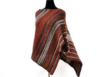 Auburn Wool poncho women | Hand knitted poncho sweater | Winter poncho | Plus size knitwear | Boho poncho | crochet poncho | chunky poncho
