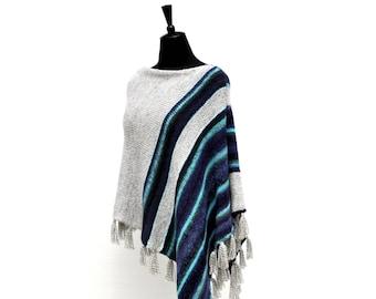 Grey womens poncho | knitting wool poncho | chunky poncho women | boho poncho women | crochet poncho women | winter wool poncho women