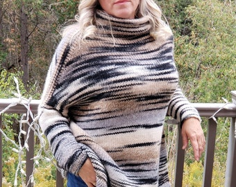 made in Canada organic chunky earth tones boho style Vintage wool large slouchy turtleneck sweater with fringe winter warm