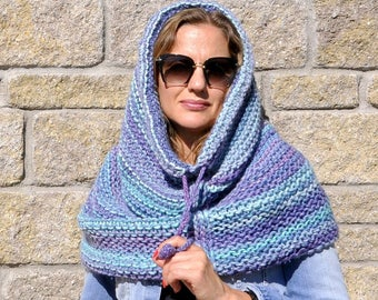 Chunky knit cowl snood hooded scarf   oversized cowl   winter scarf   knitted infinity scarf   women knit scarves   hooded cowl