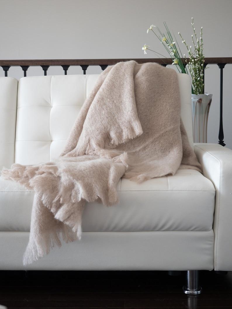 Beige Cosy Throw Blanket Pure Mohair Handmade In New Zealand