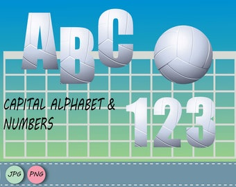 Volleyball letters and numbers, Volleyball clip art PNG, Volley embellishment, Volley Overlays, Volley words, Volley alphabet, Nursery art