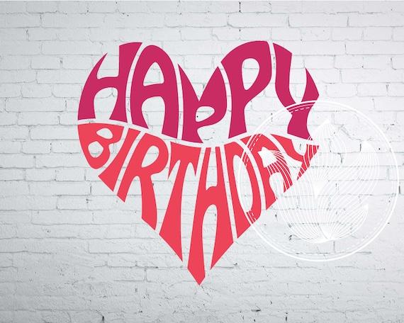 Digital Happy Birthday Word Art Jpg Png Eps
