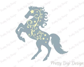 Digital Horse with swirls clip art, Horse eps, png, dxf, svg, Horse stamp, Horse decor, Horse card, Horse graphic design, Horse black lines