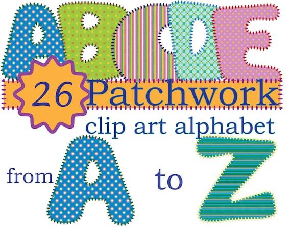 26 Instant Download Patched Quilt Alphabet Clip Art Stitch Etsy
