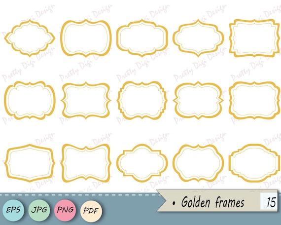 Instant download clipart Golden Frames PNG JPG vector eps | Etsy