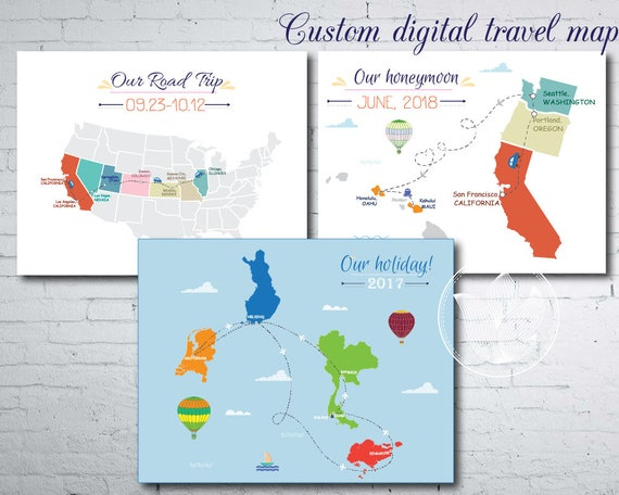I will make a Custom digital travel map, Journey maps, Road trip map, Make A Travel Map on geographically correct world map, build a travel map, los angeles travel map, create personal travel map, tours world map, make my own route map, create a travel map, make your own cluster maps, my travel map, magnetic travel map, make your own secret map,