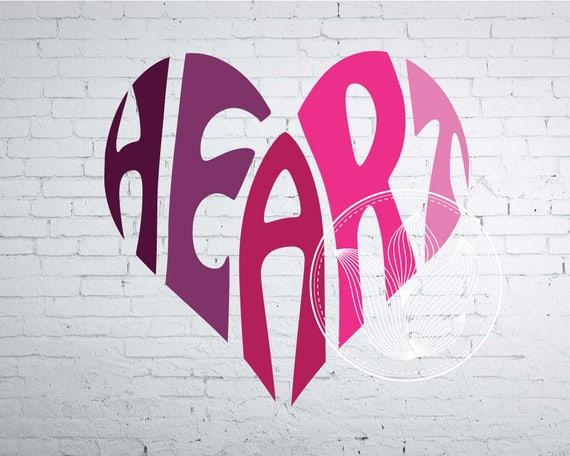 Digital Heart Word Art Heart jpg png eps svg dxf Heart  3ee77f932