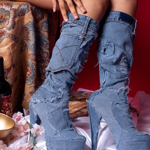 Denim Cowboy Boots Vintage 1970s Denim Acme Blue Suede Leather Stacked Heel Youth 3 12